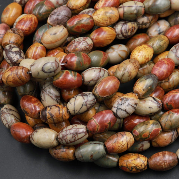 "Red Creek Jasper Bead Drum Barrel Tube Red Green Yellow Brown Natural Cherry Creek Multi Color Picasso Jasper 16"" Strand"