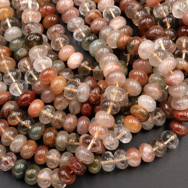 "Natural Brazilian Quartz Rondelle Beads 8mm Golden Red Green Phantom Quartz Rutile Quartz Natural Crystal 16"" Strand"