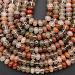 "Natural Brazilian Quartz Rondelle Beads 10mm Golden Red Green Phantom Quartz Rutile Quartz Natural Crystal 16"" Strand"
