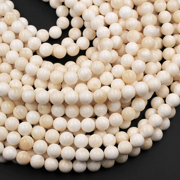 "Natural Tridacna Shell 6mm 8mm Round Beads Creamy Beige Tan 16"" Strand"