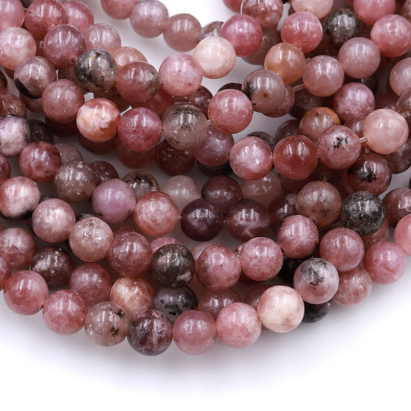 "Rare Natural Pink Purple Flower Lepidolite 4mm 6mm 8mm 10mm Round Beads High Quality 100% Natural Lepidolite Gemstone Full 16"" Strand"