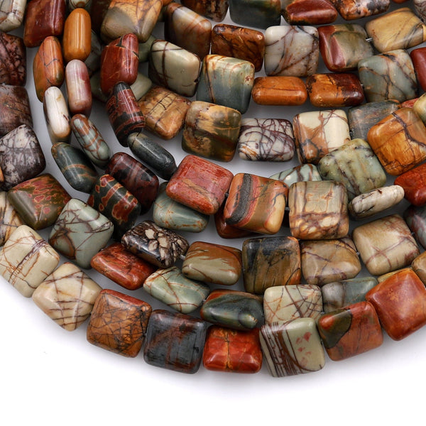 "Red Creek Jasper Square Beads 8mm 10mm 12mm Earthy Red Green Yellow Brown Natural Cherry Creek Multi Color Multicolor Picasso Jasper 16"" Strand"