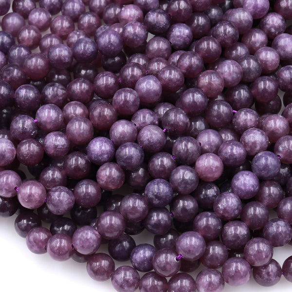 "Lepidolite 4mm 6mm 8mm 10mm Round Beads AAA Grade High Quality Chatoyant 100% Natural Maroon Purple Gemstone Full 16"" Strand"