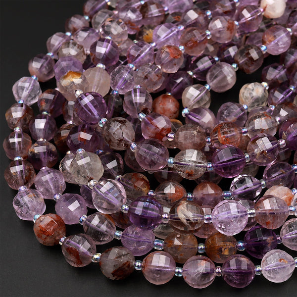 "Super 7 Crystal Element Natural Phantom Amethyst Cacoxenite Round Beads 10mm 12mm Faceted Geometric Lantern Powerful Healing Stone 16"" Strand"