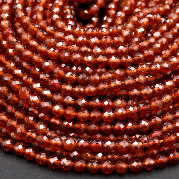 "Natural Orange Hessonite Garnet Faceted 2mm 3mm 4mm Round Beads Micro Faceted Diamond Cut Gemstone 16"" Strand"