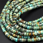 "Natural African Turquoise Heishi Beads 4mm 6mm Small Thin Disc Rondelle Vibrant Deep Blue Turquoise Untreated Gemstone 16"" Strand"