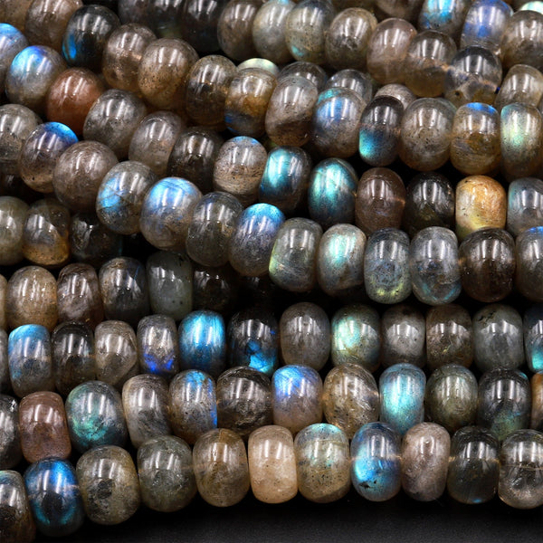 "Natural Labradorite Smooth Rondelle Beads 6mm 8mm 10mm 12mm Brilliant Rainbow Blue Fire Flashes 16"" Strand"