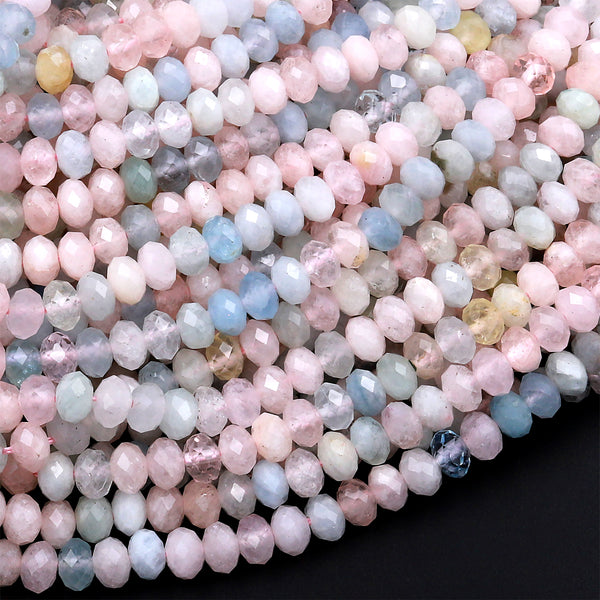 "Micro Faceted Natural Blue Aquamarine Pink Morganite 4mm Rondelle Beads Laser Diamond Cut Real Beryl Gemstone 15.5"" Strand"