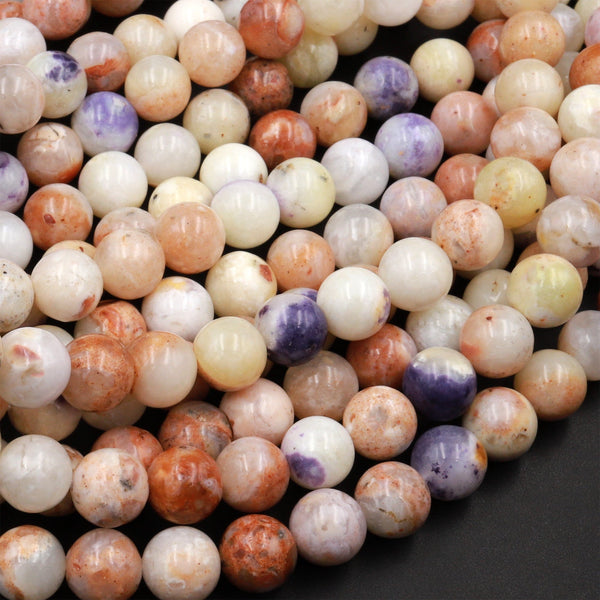 "Mexican Morado Purple Opal Smooth Round Beads 6mm 8mm 10mm 12mm 16"" Strand"