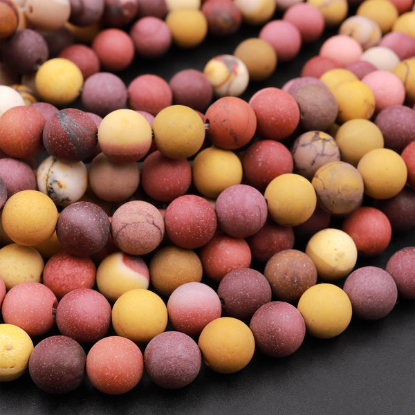 "Natural Australian Mookaite Matte 4mm 6mm 8mm 10mm 12mm Round Sunset Color Red Yellow Maroon Red Creamy White Beads 16"" Strand"