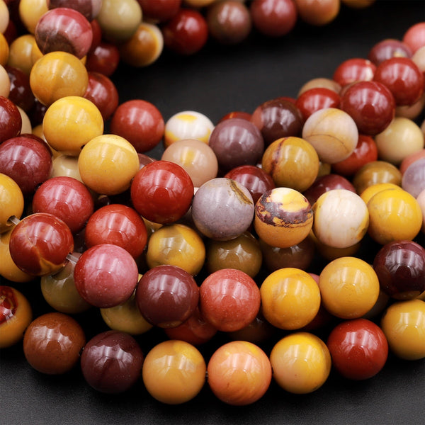 "Natural Australian Mookaite Jasper 4mm 6mm 8mm 10mm Round Bead Sunset Color Red Yellow Maroon Red Creamy White Full 16"" Strand"
