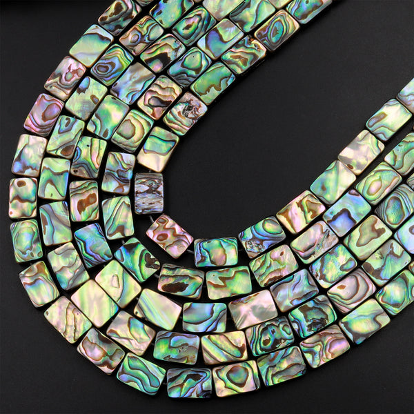 "Abalone 8mm 10mm 12mm 14mm 18mm Rectangle Beads Iridescent Rainbow Glow Blue Green Red Pink Flash 15.5"" Strand"