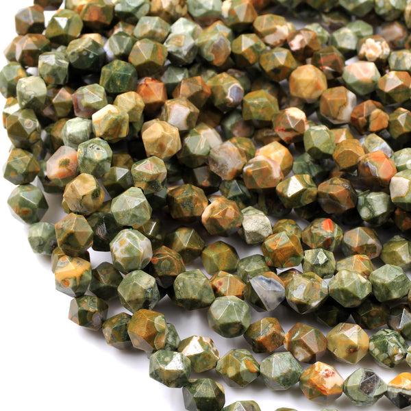 "Star Cut Rainforest Rhyolite Jasper Beads 8mm 10mm Large Facets 16"" Strand"