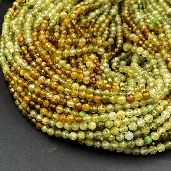 "Multicolor Natural Green Garnet 3mm 4mm Faceted Round Beads Laser Diamond Cut Gemstone 15.5"" Strand"