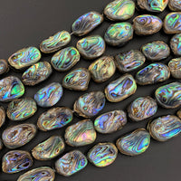"Large Freeform Natural Abalone Nugget Irregular Rectangle Beads Iridescent Rainbow Glow Blue Green Red Pink Flash 16"" Strand"