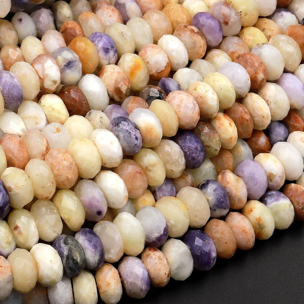 "Mexican Morado Purple Opal Faceted Rondelle Beads 4mm 6mm 8mm 10mm 15.5"" Strand"