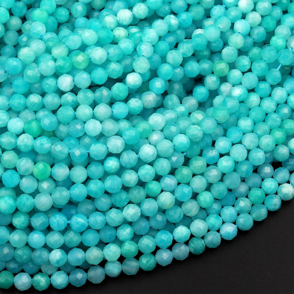 "Peruvian Amazonite 2mm 3mm 4mm Faceted Round Beads Stunning Natural Sea Blue Green Gemstone Micro Faceted Laser Diamond Cut 16"" Strand"