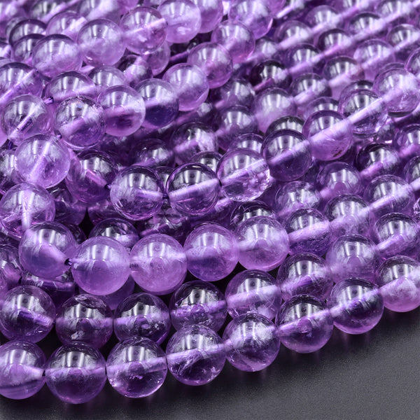 "Natural Amethyst 4mm 6mm 8mm 10mm Round Beads Superior A Grade High Quality Polished Rich Purple Spheres Gemstone Beads 16"" Strand"