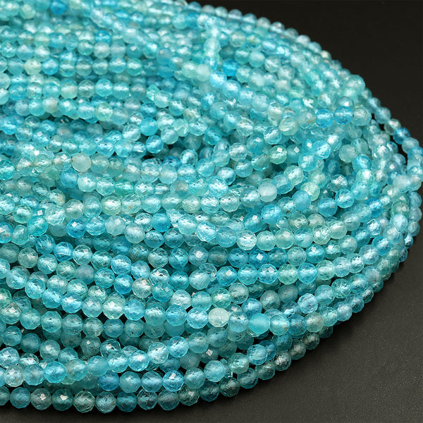 "Natural Apatite Faceted Round Beads 4mm Faceted Round Beads Translucent Aqua Blue Gemstone 16"" Strand"