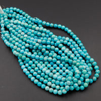 "Natural American Arizona Blue Turquoise 7mm 8mm Round Beads Real Genuine Vibrant Blue Turquoise Gemstone 16"" Strand"