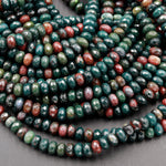 "Natural Bloodstone Beads 6mm Faceted Rondelle Superior A Grade Real Genuine Bloodstone 16"" Strand"