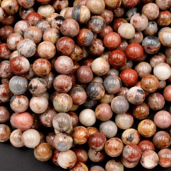 "Rare Natural Chert Breccia Jasper 6mm 8mm Round Beads  Exotic Stone From Australia 16"" Strand"