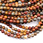 "Red Creek Jasper Bead 4mm 6mm 8mm Round Earthy Red Green Yellow Brown Natural Cherry Creek Multi Color Picasso Jasper 4mm 6mm 8mm 16"" Strand"