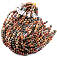 "Matte Red Creek Jasper Bead 4mm 6mm 8mm 10mm 12mm Round Earthy Red Green Yellow Brown Natural Cherry Creek Multi Color Picasso Jasper 16"" Strand"