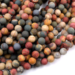 "Red Creek Jasper Bead 4mm 6mm 8mm 10mm Matte Round Earthy Red Green Yellow Brown Natural Cherry Creek Multi Color Picasso Jasper 16"" Strand"