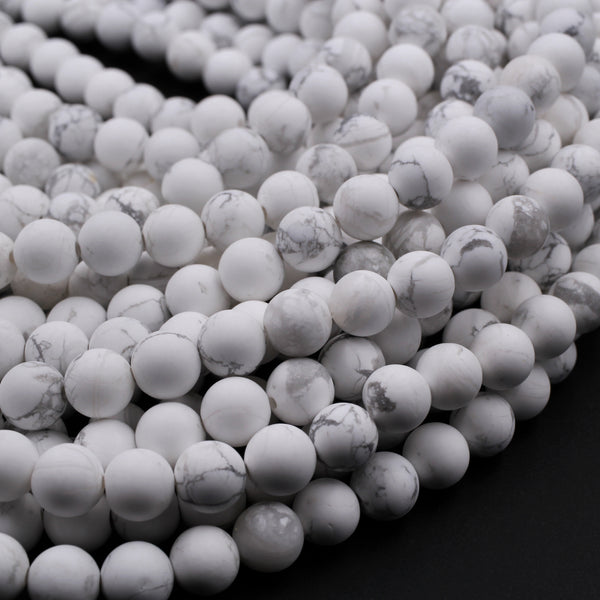"Matte Natural White Howlite 4mm 6mm 8mm 10mm 12mm Round Beads Finest Quality A Grade Wholesale Bulk Discount 16"" Strand"