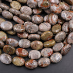 "Rare Natural Mushroom Jasper Rhyolite Beads From Arizona Puffy Oval Nuggets 16mm x 12mm 16"" Strand"