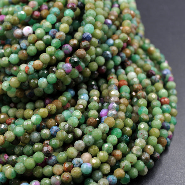 "Micro Faceted Small Natural Ruby Fuchsite Fuschite Ruby Zoisite 3mm 4mm Faceted Round Beads Laser Diamond Cut Gemstone 16"" Strand"