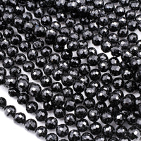 "Genuine Natural Black Tourmaline Beads Faceted 5mm  6mm 8mm Round Beads Micro Faceted A+ High Quality Sparkling Black Gemstone 16"" Strand"