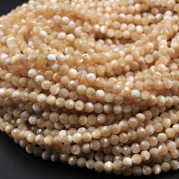 "Natural Brown Mother of Pearl Round Beads 3mm Faceted Round Beads Laser Diamond Cut Iridescent Pearl Gemstone 16"" Strand"