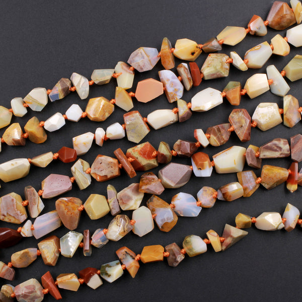 "Natural Oregon Opal Beads Faceted Freeform Irregular Nugget Rich Red Orange Brown Green Opal Beads Genuine Opal from Oregon 16"" Strand"