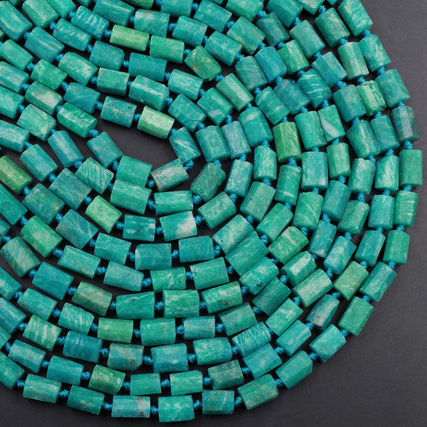 "AAA Russian Amazonite Tube Faceted Beads Organic Matte Finish Bright Vibrant Natural Aqua Blue Green Amazonite Rectangle Beads 16"" Strand"