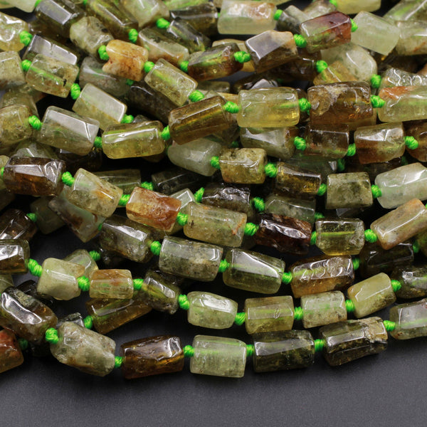 "Natural Green Garnet Tube Beads Rectangle Barrel Cylinder Nuggets Smooth Polished 10mm x 7mm Real Genuine Green Gemstone 16"" Strand"