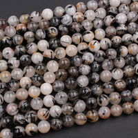 "Natural Black Tourmaline Rutilated Rutile Quartz Round Beads 6mm 8mm 10mm 12mm Round Beads W Rare Red Iron Golden Copper Matrix Gemstone 16"" Strand"