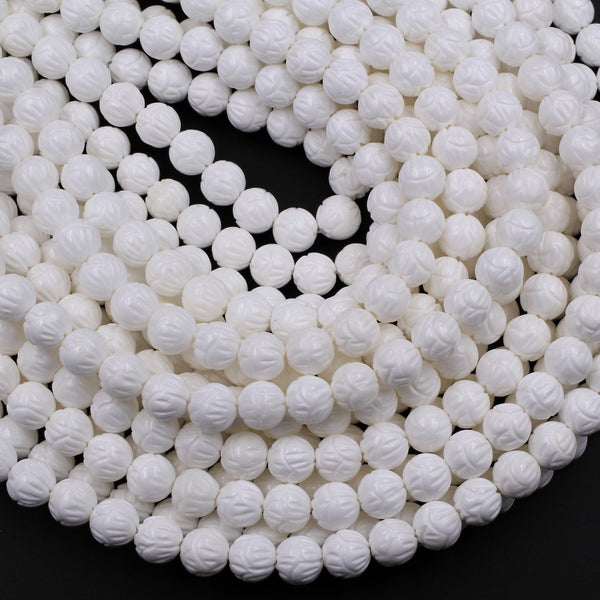 "Natural White Tridacna Shell Beads Carved Lotus Flower Bloom Round Beads Pristine White 6mm 8mm 10mm 12mm 14mm Decorative Flower Bead 16"" Strand"