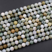 "Natural Burma Green Jade 6mm 8mm 10mm 12mm Round Beads High Polish Smooth Plain Real Genuine Natural Burmese Jade Round Beads 16"" Strand"