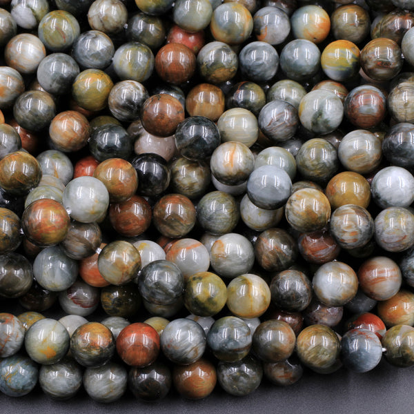 "Eagle Eye Beads 4mm 6mm 8mm 10mm Round Hawk Eye Beads Gray Red Slate Brown Colors High Quality Top Quality High Grade 16"" Strand"