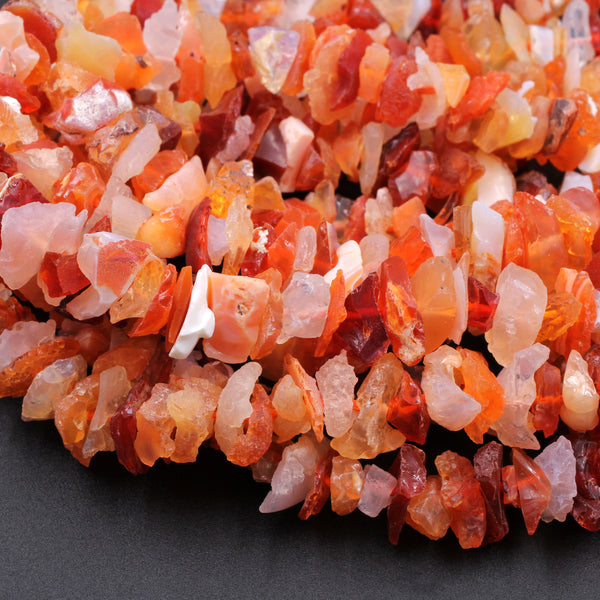 "Mexican Fire Opal Beads Center Drilled Freeform Chip Nugget Beads Raw Rough Hand Cut Real Genuine Natural Fire Opal Gemstone  16"" Strand"