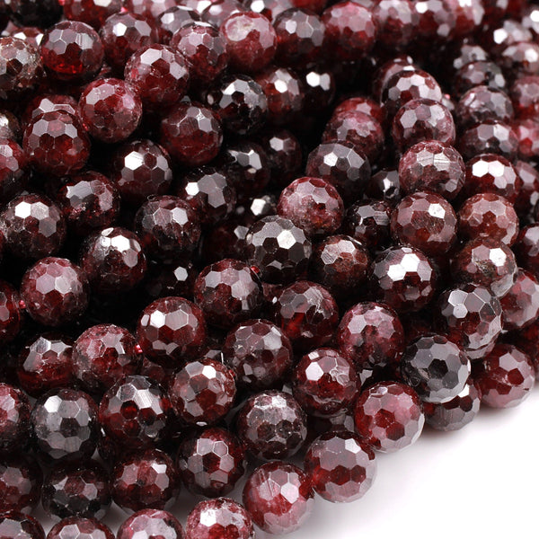 "Natural Red Garnet Gemstone Beads Faceted 6mm 8mm 10mm Round Beads High Quality Laser Diamond Cut Gemstone 16"" Strand"