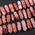 "Lepidocrocite Quartz Beads Faceted Double Terminated Pointed Tips Large Healing Natural Red Quartz Crystal Focal Pendant Bead 16"" Strand"