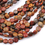 "Red Creek Jasper Bead 8mm 10mm Coin Smooth Earthy Red Green Yellow Brown Natural Cherry Creek Multi-color Picasso Jasper Earring 16"" Strand"
