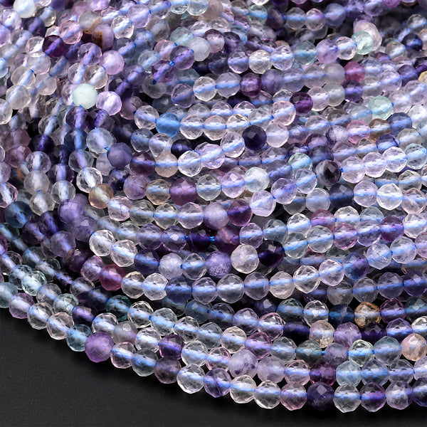 "Natural Fluorite Faceted 2mm 4mm Round Beads Micro Laser Cut Purple Gemstone 15.5"" Strand"