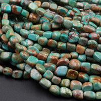 "Natural Turquoise Freeform 6mm Pebble Nuggets Highly Polished Genuine Real Stunning Green Brown Turquoise Gemstone Beads 16"" Strand"