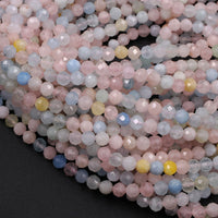 "Micro Faceted Tiny Natural Pastel Pink Blue Beryl Round Beads 3mm 4mm 5mm Faceted Round Beads Laser Diamond Cut Gemstone 16"" Strand"
