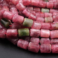 "Natural Pink Watermelon Tourmaline Tube Cylinder Beads Real Genuine Natural Tourmaline Gemstone 16"" Strand"
