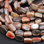 "Rare Natural Orange Abalone Shell Beads Rectangle Tube Nugget Iridescent Rainbow Flash Chunky Large Shell 16"" Strand"